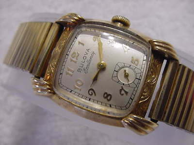 Vintage GOLD FD antique Art Deco BULOVA EXCELLENCY ENGRAVED CURVEX watch + BOX