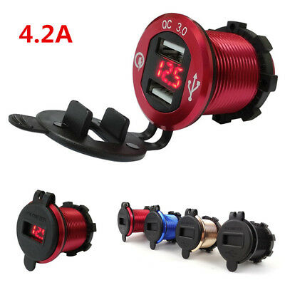 Red Aluminum Motorcycle 4.2A 2 USB Cigarette Lighter Car Charger Adapter For BMW