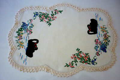 Beautiful Linen Hand Embroidered & Hand Crochet Edge Doily Black Swans 51 X 35Cm