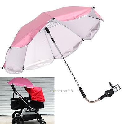 Universal Sun Rain Parasol Umbrella Baby Wheelchair Pram Pushchair Canopy + Clip