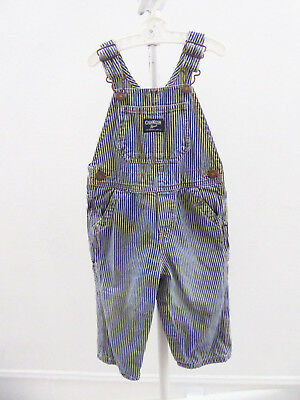 Vintage Kids Baby Osh Kosh Hickory Stripe Blue Conductor Overalls Size 24 Months