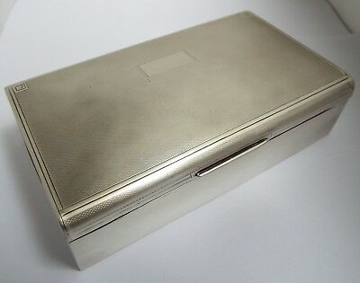 Lovely Heavy English Antique Art Deco 1939 Solid Sterling Silver Cigarette Box