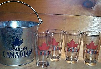 Molson Canadian 4 Beer Pint Glasses & Ice Cooler Bucket New