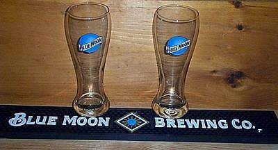 Blue Moon Beer Bar Rail Mat & 2 Pilsener Style Beer Pint Glasses New