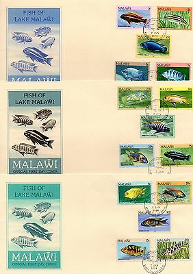 1984 MALAWI Fish of Lake Malawi set of 3 FDCs