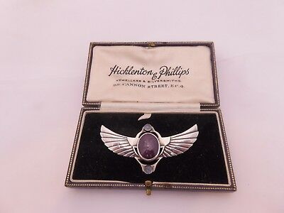 Fine arts and crafts silver egyptian revival ruby moonstone brooch boxed