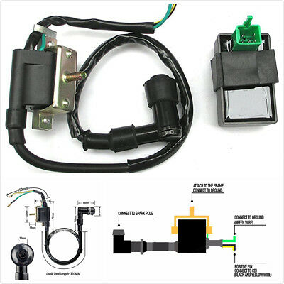 12V Ignition Coil+5 pin CDI+Spark Plug For Chinese ATV Quad 50 70 90 110 125 cc