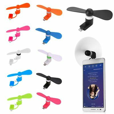 2 IN 1 Micro USB Lightning Mini Portable Fresh & Cool Air Fan For Android IOS DE