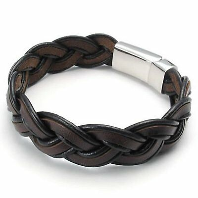 MENDINO Wide Men's Braided Cuff Bangle Stainless Steel Leather Bracelet Brown