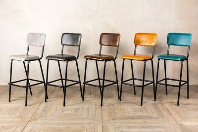 Leather Bar Stools 5 Colours Available Modern Vintage Style Stacking Stools