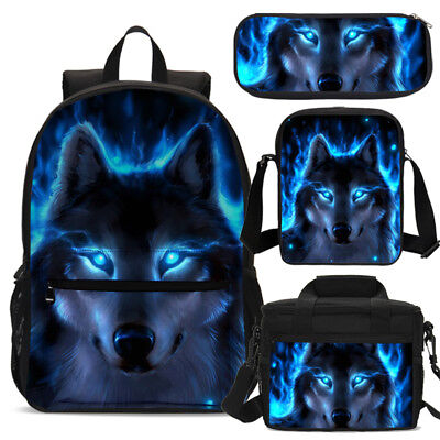 S/3 Cool Blue Wolf Boy School Backpack Insulated Lunch Bag Pencil Case Wholesale