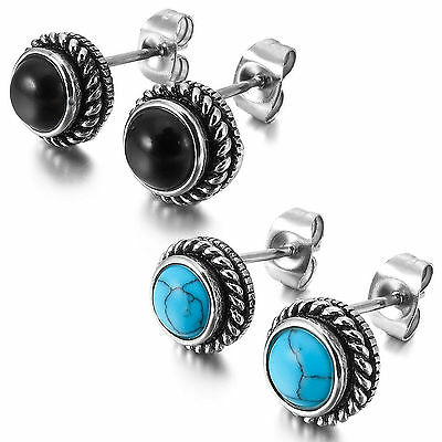 MENDINO Men's 316L Stainless Steel Stud Earrings Round Simulated Turquoise Agate