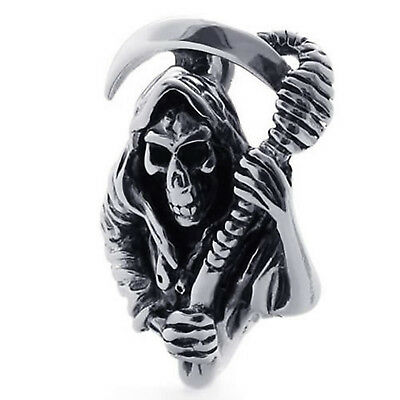 MENDINO Men's Biker Grim Reaper Skull Sickle Stainless Steel Pendant Necklace