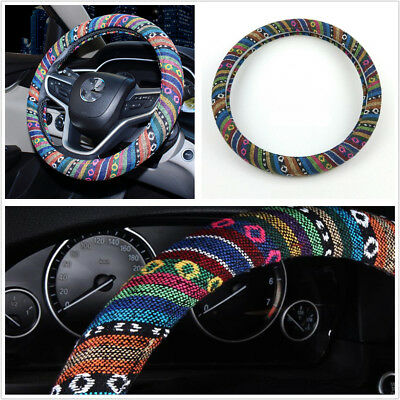 38cm/15'' Flax Car Steering Wheel Portector Cover Wrap Natural Fibers Anti-Slip