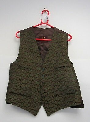 """Vintage Dunn & Co. Green Patterned Waistcoat 42"""" Chest - DOW H124"""