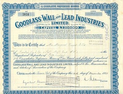 UNITED KINGDOM 1935 GOODLASS WALL AND LEAD INDUSTRIES Ltd., Zertifikat über 500