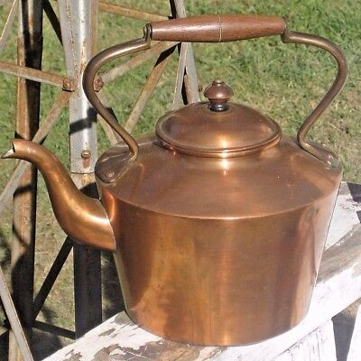 "Antique / Vintage Banquet Size Solid Copper Coffee POT 9"" Tall Brass Wood Handle"