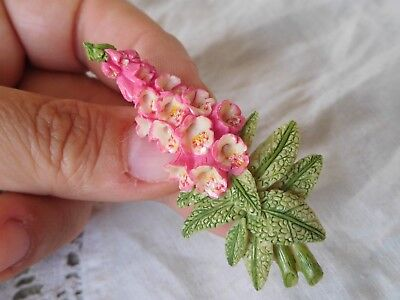 Pretty Vintage 1980s Colourful FOXGLOVE Flower Brooch