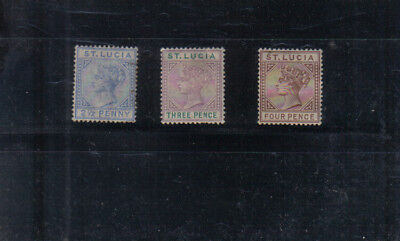 St Lucia Q Victoria 1891-98 2 1/2d, 3d and 4d mounted mint