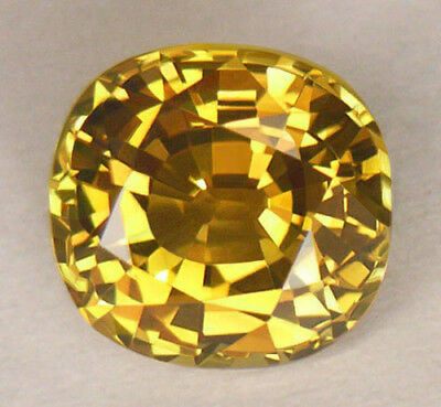 3.24CT *CERTIFIED* VVS1 8.5 x 8mm ANTIQUE CUSHION CUT GOLDEN YELLOW CHRYSOBERYL