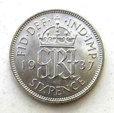 Great Britain Uk Coins, Sixpence 1937, George Vi, Silver 0.500