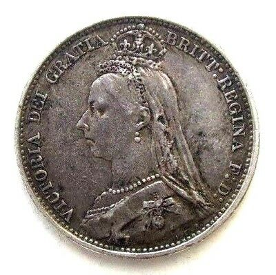 Great Britain Uk Coins, Sixpence 1887, Victoria, Silver 0.925