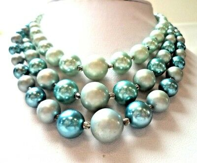 "Stunning Vintage Estate Signed Japan Blue Faux Pearl Beaded 17"" Necklace!! 1094E"