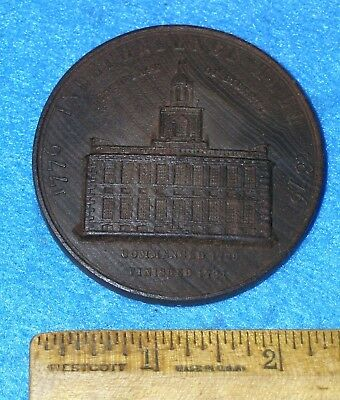 "1776 1876 Centennial Exhibition WOOD MEDAL 2 ⅜"" INDEPENDENCE HALL Stamped Walnut"