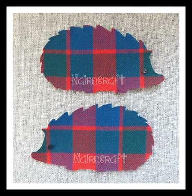 Hedgehogs - Red - Tartan - Fabric - Cut Out - Iron On - Sew On - Applique Patch