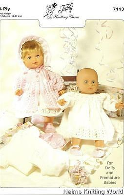 7113 - Baby - Doll -  Premmie - Babies - Layette - 4ply - Knitting - Pattern