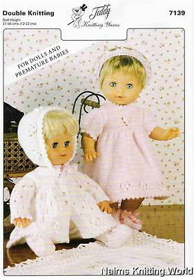 Knitting Pattern - 7139 - Baby - Doll - Preemie - Babies - Outfit - Double Knit.