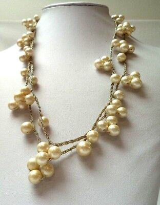 "Stunning Vintage Estate Faux Pearl Beaded Silver Tone Chain 42"" Necklace!! 1095S"