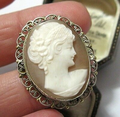 Beautiful Antique Art Deco 800 Silver Carved Shell Cameo Pendant Brooch / Pin