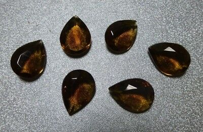 18x13mm smoked topaz faceted glass stones, 2 doz, Vintage LL765