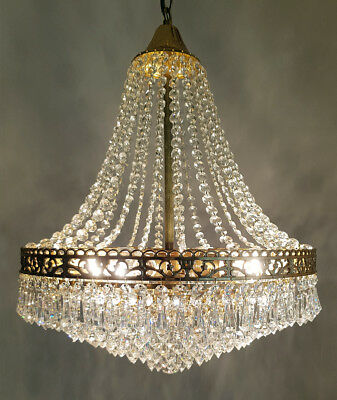 Vintage French Basket Style Brass & Crystals LARGE Chandelier from 1990's