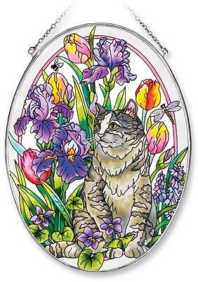 "Amia Stained Glass Suncatcher 6.5"" X 9"" Oval Spring Garden Cat Flowers #5818"