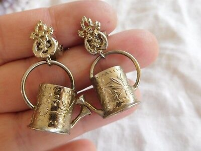 Lovely Vintage 1960s Decorative Watering CAN Clip On Earrings