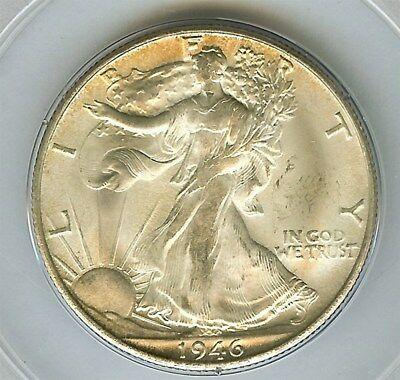 1946-S Walking Liberty Silver 50 Cents -Old Green Label- Pcgs Ms63
