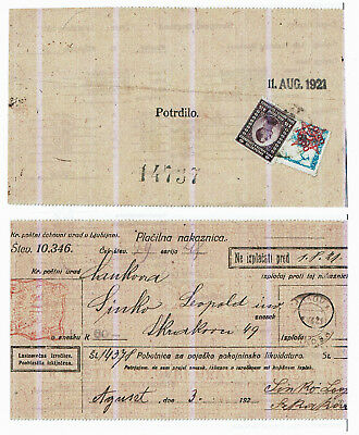 Slovenia Money Order 1921 Provisional Postage Due Used For Postage
