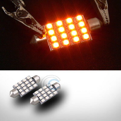 2 Yellow 41Mm Festoon 16 Count Smd Led Light Bulb Trunk/license Plate Lamp 211-2