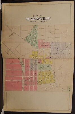 Indiana Marshall County Map Humansville Township 1922 Double Page  K21#35