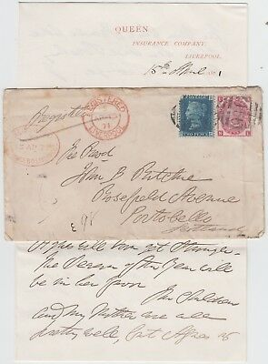 LIVERPOOL 1871 2d blue 3d rose plate-6 on registered cover *LIVERPOOL-PORTOBELLO