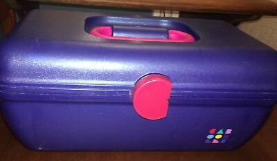 Caboodles Makeup Case Blue Pink lift out tray Cosmetic Organizer vintage