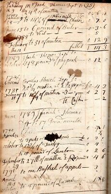 1780s, Manuscript Ledger book, Worcester, Mass; Jonathan Stone, Isaiah Thomas