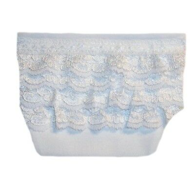 Baby Girls' White Diaper Cover with Ruffled Lace - 4 Preemie and Newborn Sizes