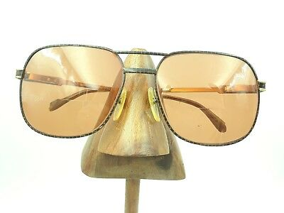 Vintage Marco Aurelio 8004 Gold Black Grid Square Aviator Sunglasses Frames