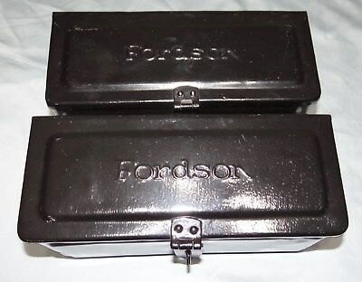 Fordson Tool Box Set Lot Farm Tractor Steel Tin Embossed Ford Script Vtg Antique