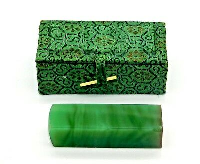 Estate Rare Antique Chinese Apple Green Jade Wax Stamp with Case