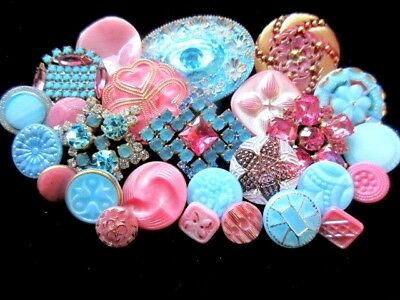 25 BUTTONS Beautiful Mix of VINTAGE & NEW Glass & Rhinestone   Pink & Turquoise