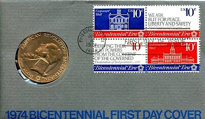 1974 Bicentennial/Commemorative Medal w/First Day Issue Postmark EA374